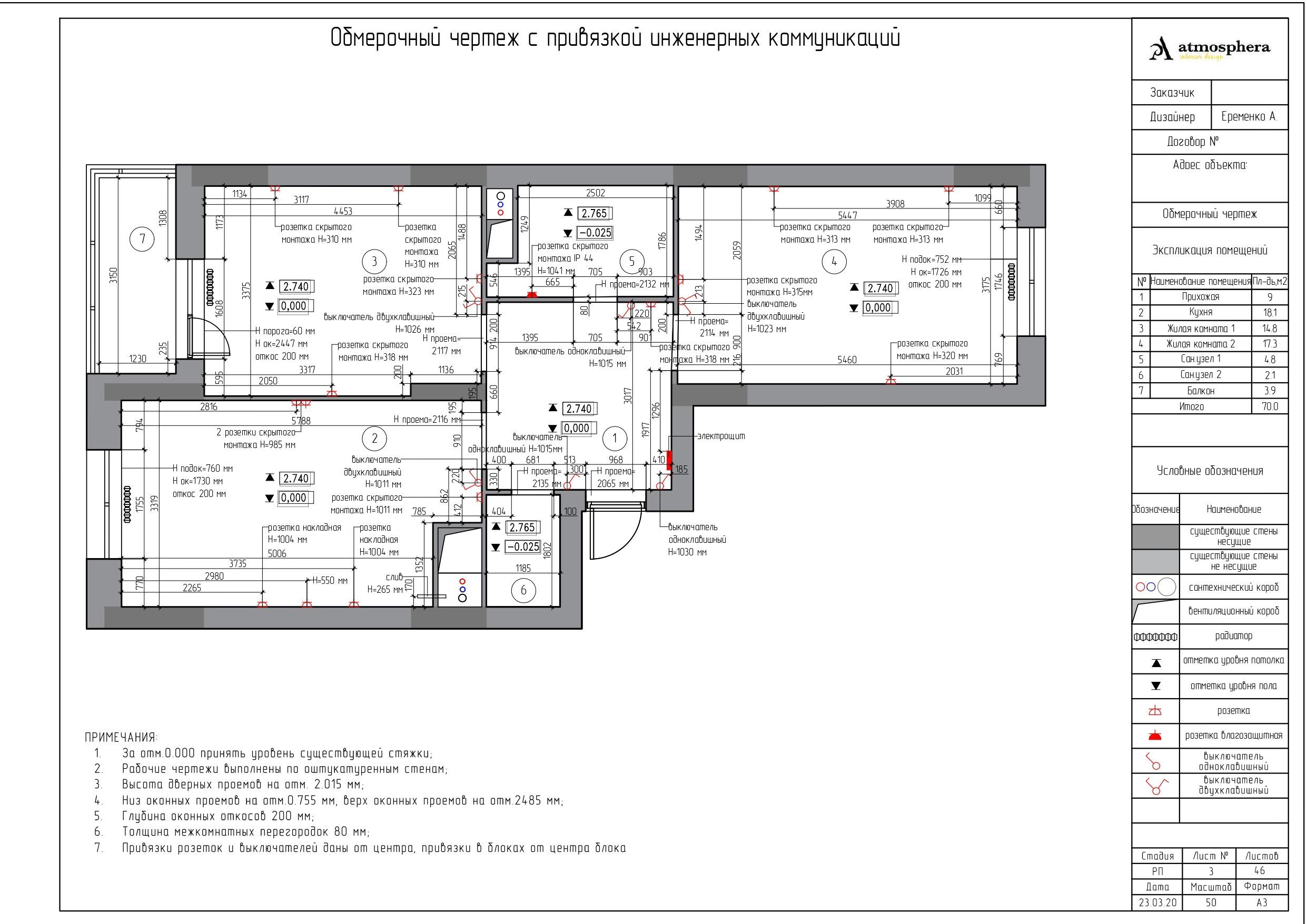 Обмерочный чертеж ЖК «Дмитриевский»
